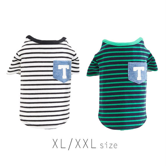 XL-XXL  ボーダーTシャツ (White / Green) TT101023-3