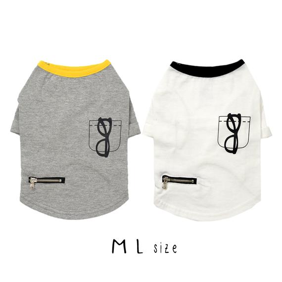 M-L だまし絵Tシャツ (White / Gray) TT101002-2