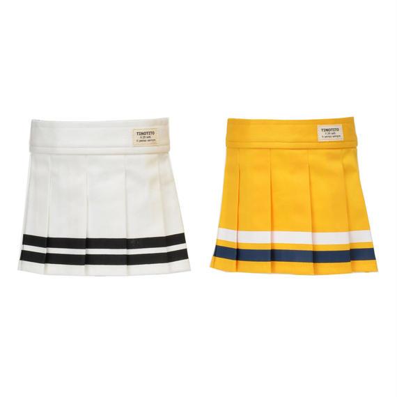 XL-XXL ラインプリーツスカート ( White / Yellow ) TT114044-3