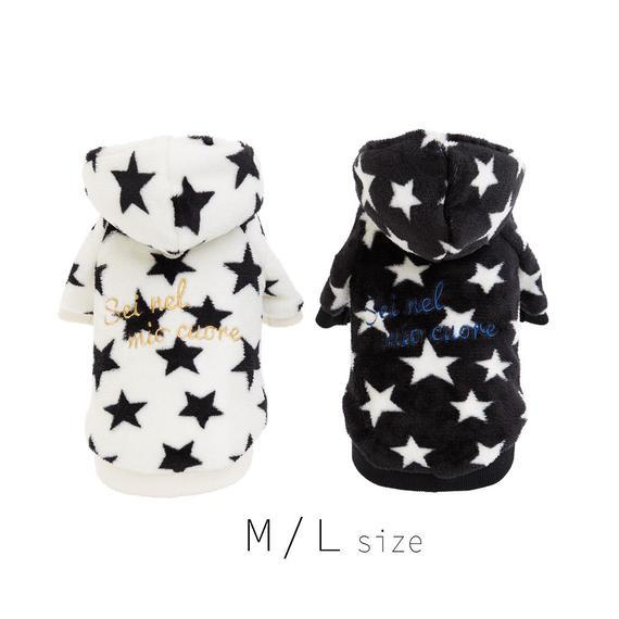 M-L  星柄ファーパーカー (White / Black) TT102036-2