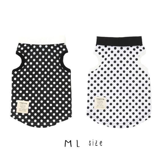 M-L 丸衿つきタンクトップ(Black/White) TT101005-2
