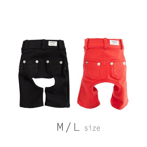 M-L カラーデニムニットパンツ (Red / Black) TT103025-2