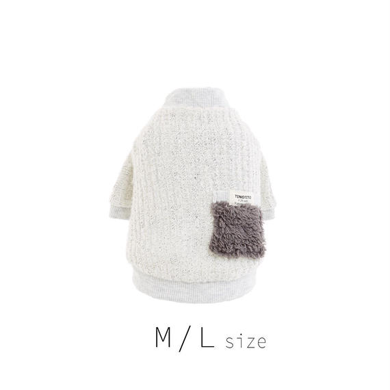 M-L ファーポケット付きカーディガン (Gray) TT102024-2