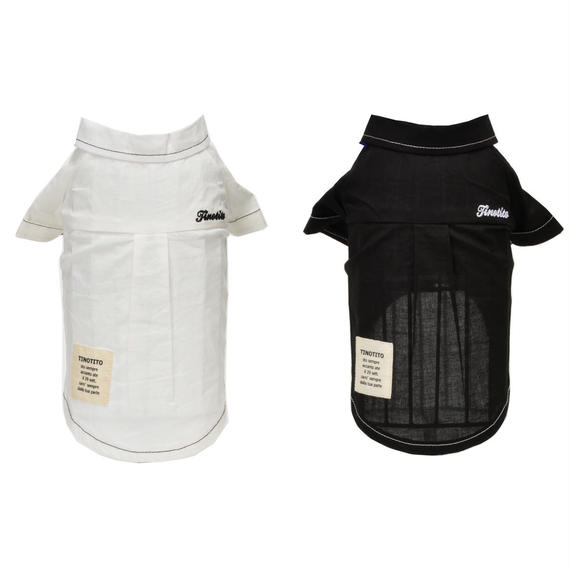 M-L リボン付きステッチシャツ ( White/ Black ) TT112049-2