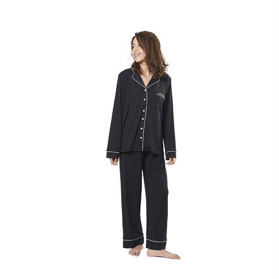 【ピーチスキンシャツ上下セット】P91435-763 ブラック