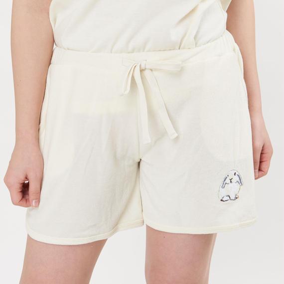 【ラビット刺繍 パイル1分丈パンツ】P91555-772