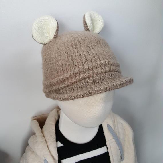 耳付きふわふわ帽