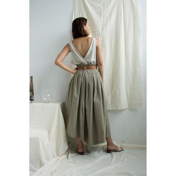 Linen Cache-coeur Sleeveless Tops (Khaki/Beige)(tp265)