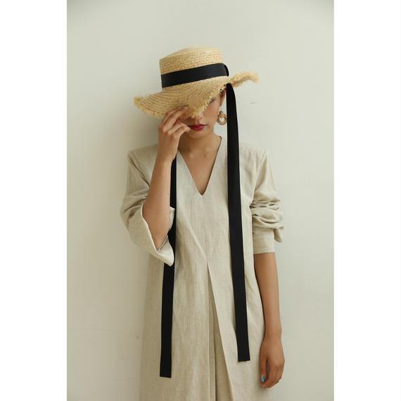 Pad Shoulder Linen Dress (Beige/White) (ds112)