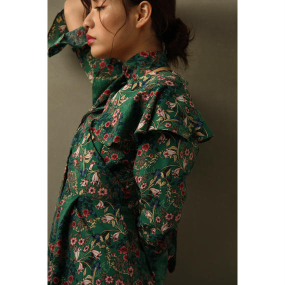 Floral Ruffle Collar Dress (ds098)