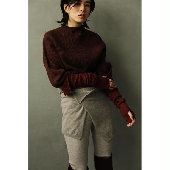 Seamless Wool Rib Knit (Brown/Ivory)