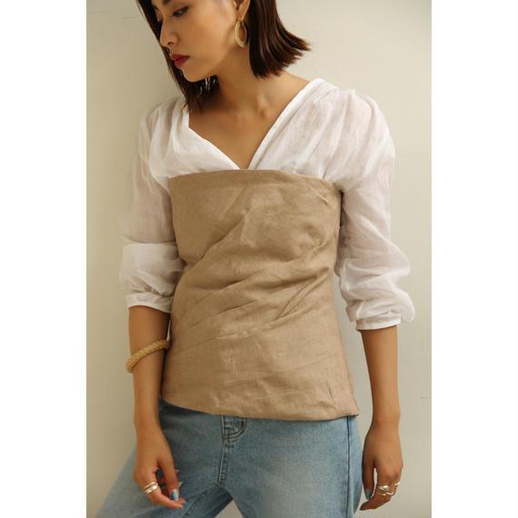 Linen Tucked Bustier  (tp252)