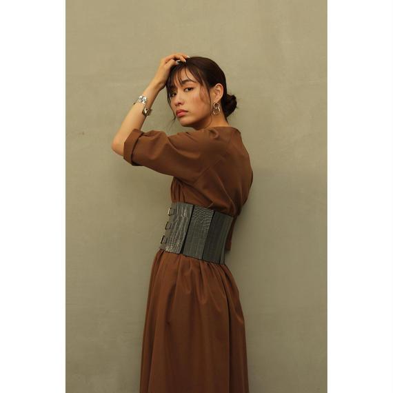 Corset Design Flare Dress (Brown/Olive)(ds099)