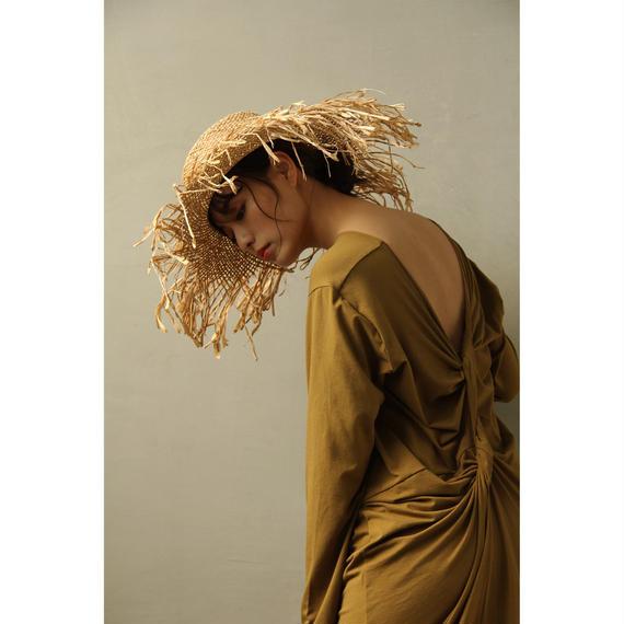 Back Twisted Long T-dress (Khaki/Black)( ds096)