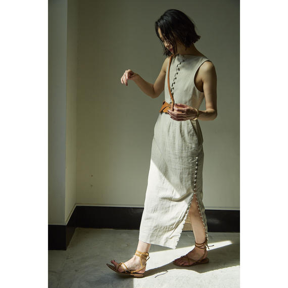 "【""little $uzie"" Original #2】Linen Slit Dress (ls022)"