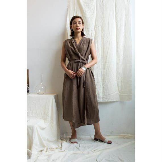 Linen Cache-coeur Sleeveless Dress (Brown/Beige)(ds113)
