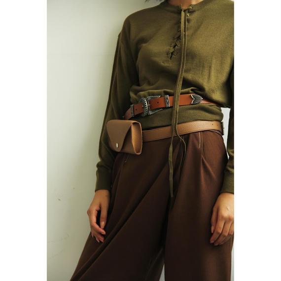 Lace Up High Gauge Knit (Black/Khaki)(tp271)