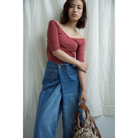 Uneven Wide Denim Pants(bt190)