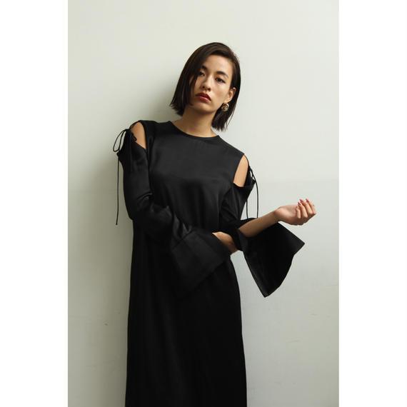 Cut Out Shoulder Satin Dress (ds120)
