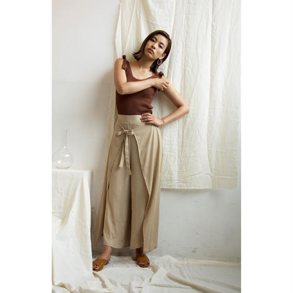 Front Ribbon Side Slit Pants(bt188)