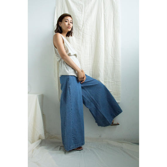 High Waist Flare Denim Pants(bt189)