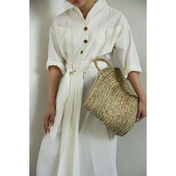 Button & Belt Shirt Dress (White/Mustard)(ds092)
