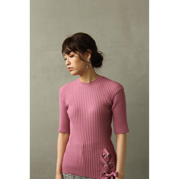 Lace-Up Pink Rib Tops (tp243)