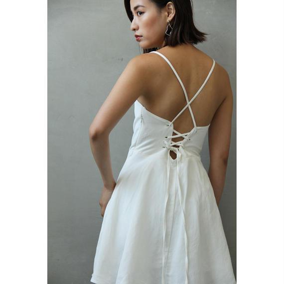 Back Lace up Linen Mini Dress ( White/Black )(ds110)
