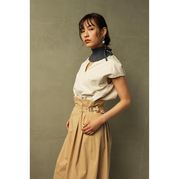 Short Sleeve V Neck Cotton Shirt(Ivory/Beige)(tp247)