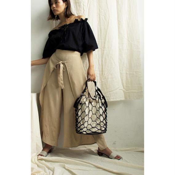 Honeycomb Leather Mesh Bag (Black/Brown)