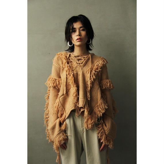 Lace Up Fringe Poncho Sweater (tp279)