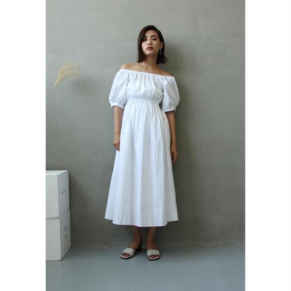 Ribbon Sleeves Off Shoulder Dress (White/Black)(ds111)