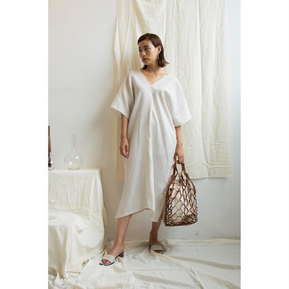 Linen V Neck Dress (ds114)