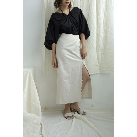 Linen Button & Slit Long Skirt (Beige/Brown)(bt186)