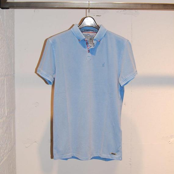 【NO EXCESS】無地カラーストレッチポロシャツ ブルー