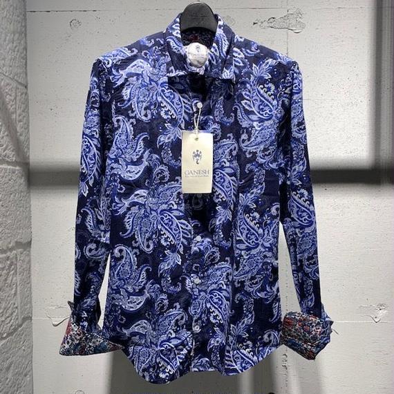 【GANESH(ガネーシュ)】パターンデザインシャツ ネイビー系