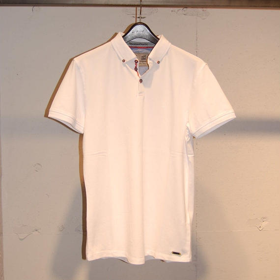 【NO EXCESS】無地カラーストレッチポロシャツ ホワイト