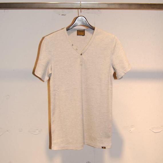 【291295=HOMME】コットンワッフルサーマルTシャツ グレー