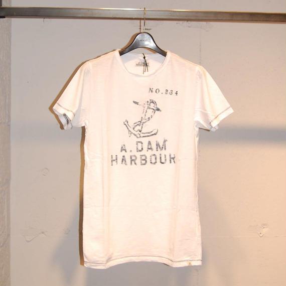 """【DSTREZZED】""""A.DAM HARBOUR""""スラブ生地Tシャツ ホワイト"""