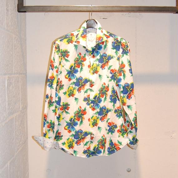 【GANESH】フラワーデザインコットンシャツ ホワイト×イエロー