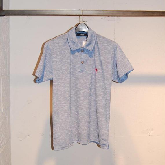 【REQUEST】フラミンゴ刺繍ポロシャツ ブルー系