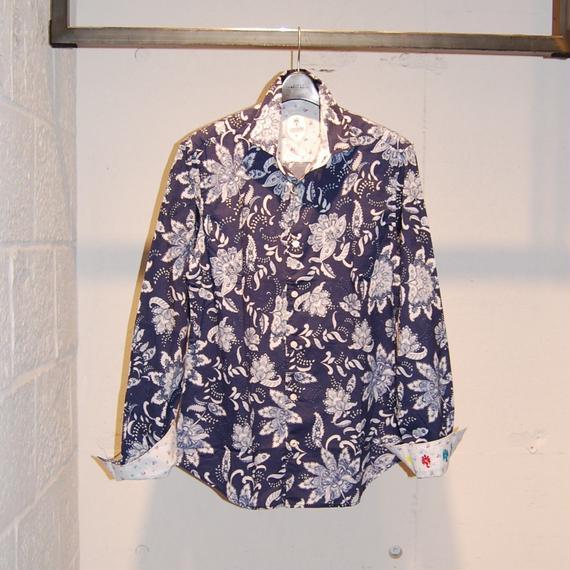 【GANESH】フラワーデザインコットンシャツ ネイビー系