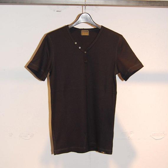 【291295=HOMME】コットンワッフルサーマルTシャツ ブラック
