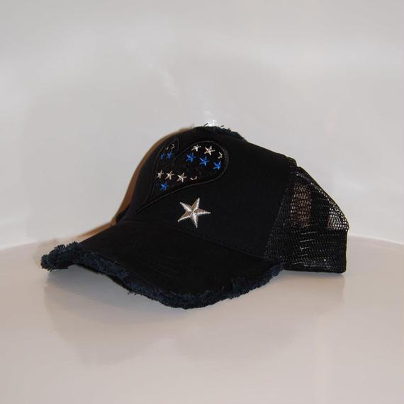 【StarLean】Blue Heart刺繍メッシュキャップ ブラック