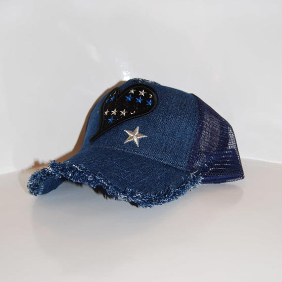 【StarLean】Blue Heart刺繍メッシュキャップ デニム