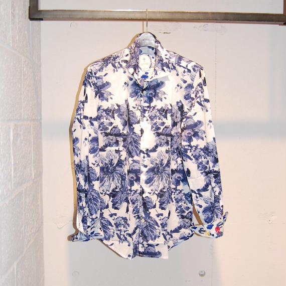 【GANESH】フラワーデザインコットンシャツ ホワイト×ブルー
