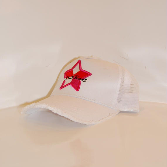 【StarLean】5パーツ メッシュキャップ ホワイト×ピンク