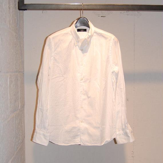 【PAZZO】市松ドビーボタンダウンシャツ ホワイト