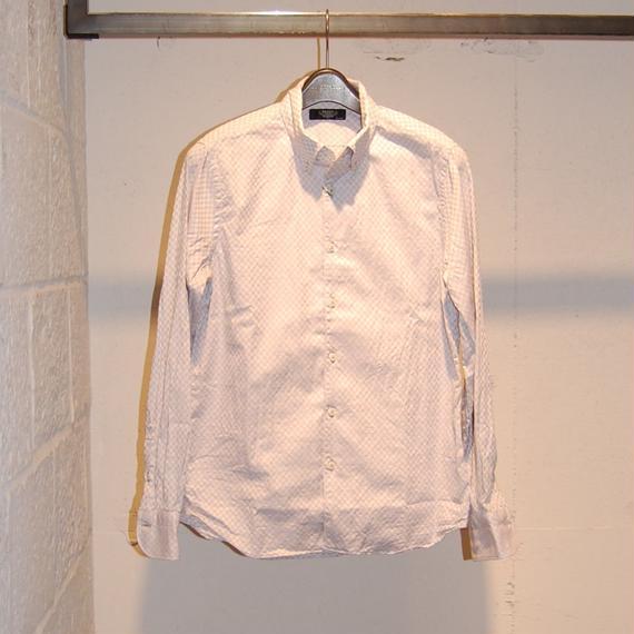 【PAZZO】市松ドビーボタンダウンシャツ ライトグレー