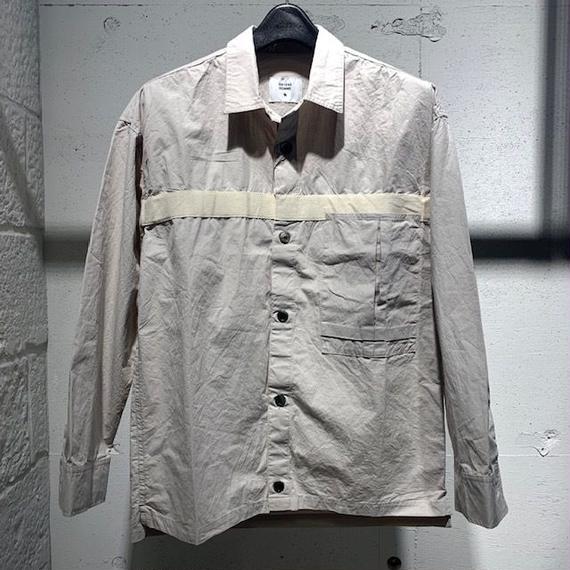 【291295=HOMME】コットンダンプ オーバーシャツ ライトグレー
